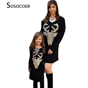 SOSOCOER Mother Daughter Dresses Autumn Christmas Deer Family Matching Clothes Outfits Antlers Long Sleeve Mom Daughter Dress