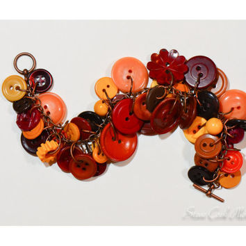 Vintage button charm bracelet Bakelite funky chunky copper Fall colors orange yellow brown red handmade women's jewelry gift for her