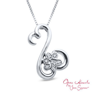 Open Hearts Family by Jane Seymour™ Diamond Accent Paw Pendant in Sterling Silver