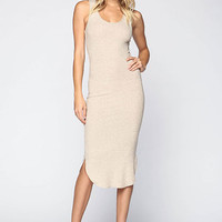 OATMEAL RIBBED KNIT MIDI TANK DRESS