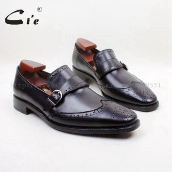 Square Toe Genuine Leather Upper Insole Out sole Custom Handmade Black with Buckle Loafer Men's Shoe loafer