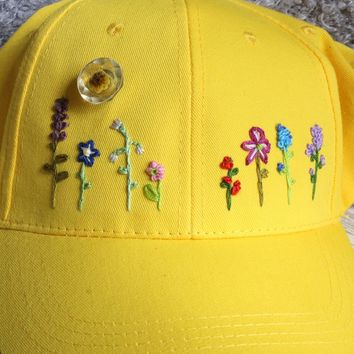 Flower Embroidered Baseball Hat ~ Embroidered By Hand ~ Gift For Gardener ~ Flower Gift ~ Floral Embroidery ~ Wearable art ~ Yellow ~ Gift