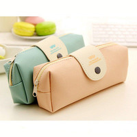 Cute Pencil Pen Case Cosmetic PU leather Makeup Make Up Bag Zipper Pouch Purse Portable Children Girls Storage Bag