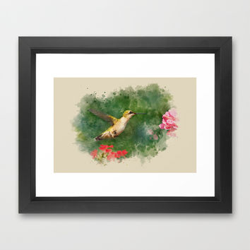 Hummingbird Watercolor Painting Framed Art Print by Christina Rollo | Society6