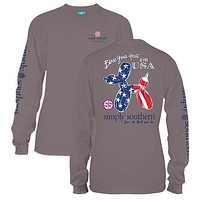 Simply Southern Preppy Bless The USA Balloon Long Sleeve T-Shirt