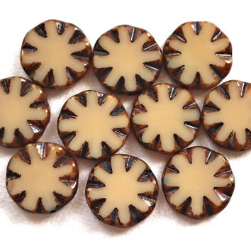 Five 14mm opaque off white, beige picasso, Czech glass table-cut, carved, disc or coin beads C5501