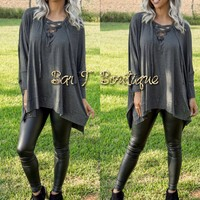 Winging It Charcoal Tunic
