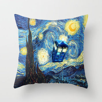 Tardis Doctor Who Starry Night Throw Pillow by Pointsalestore | Society6