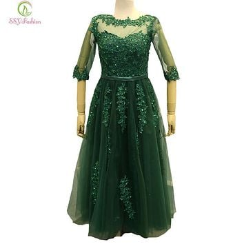 SSYFashion New Evening Dress Bride Banquet Elegant Green Lace Half Sleeve Tea-length Appliques Sequined Formal Party Gown Custom