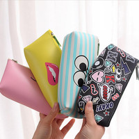 1PC Cute Simle Lip PU Leather Pencil Case Stationery Storage Box School Office Supply Escolar Papelaria Gift Stationery