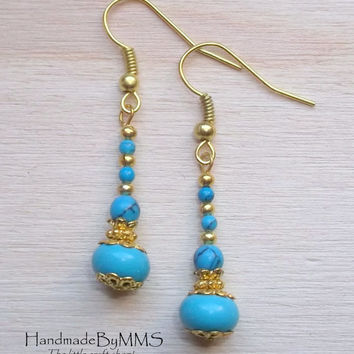 Adorable turquoise earrings, December birthstone earrings, Co-worker gifts, Holiday gift, Gold plated turquoise earrings, Birthday gift