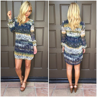 Traces of Gold Long Sleeve Shift Dress