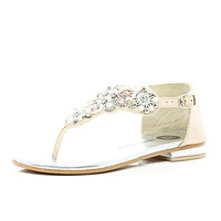 River Island Girls cream pearl and rhinestone sandals