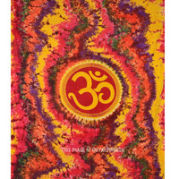 Queen Size Colorful Hippie Hindu Om Symbol Tapestry Wall Hanging Bedding Bedspread on RoyalFurnish.com