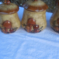 Vintage Canister Set Arnels Ceramic Mushrooms Shape Brown 1960s Gorgeous