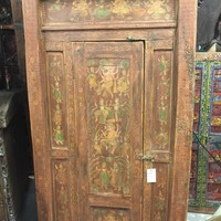 Ancient Spirituality Antique India Door Dancing Ganesha RED CHAKR BARNDOOR YOGA
