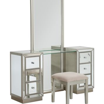 Six Drawer Console w/ Mirror & Stool -  Ships in 2 Cartons