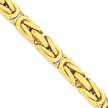 6.5mm, 14k Yellow Gold, Solid Byzantine Chain Necklace, 24 Inch