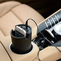 Sentey LS-2240 Car Cup Charger with 3 USB Ports and Holder Bundle with Protection Pouch - Black