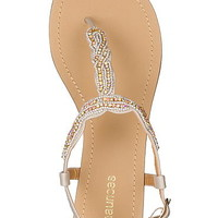 rita rhinestone and bead embellished sandal