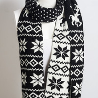 Holiday Fair Isle Snowflake Knit Scarf