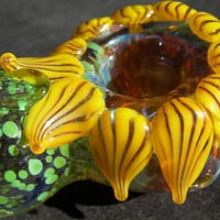 Glass Tobacco Pipe Sunflower Made to Order