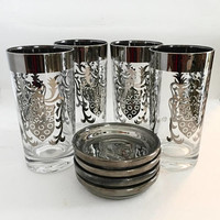Kimiko Glass Tumblers with Silver Caddy, Kimiko Silver Band Tumbler Set, Mid Century Glasses, Vintage Barware, Glasses with Coasters