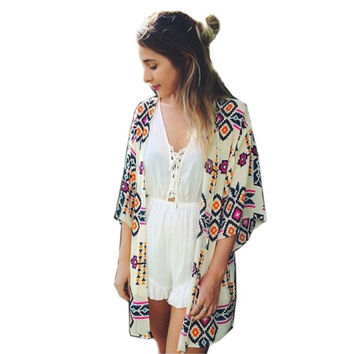 Summer 2017 Beach Women Chiffon Cover Up Geometric Kimono Blouse Lady Party Tops