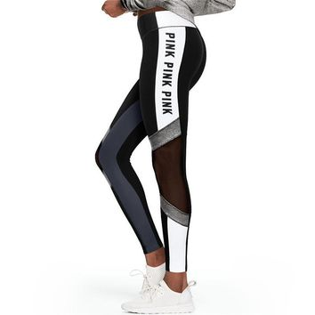 Summer New Letter Printing Fitness Leggings Women High Waist Black White Patchwork Mesh Fitness Pants Workout Female Leggings