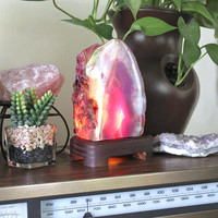 2.7lb. Agate Lamp on Wood Stand w/ Cord & Bulb, Pink Stone Desk Lamp, Geode Crystal Accent Lamp, Pagan Altar Supplies, Chakra, Reiki Healing