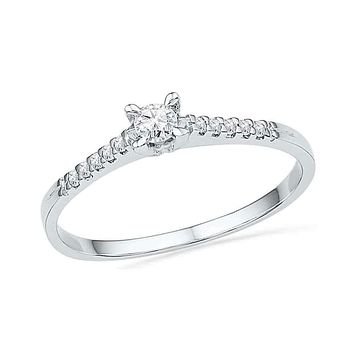 10kt White Gold Women's Round Diamond Solitaire Promise Bridal Ring 1/8 Cttw - FREE Shipping (US/CAN)