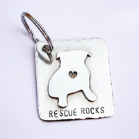 Custom Dog silhouette Keyring, Personalized pet keychain, Pet Keyring, Bulldog, Hand Stamped English Bulldog keychain- rescue dogs rock