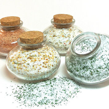 Flavored Sea Salt- 4 Gourmet Sea Salt Blends in Mini Bean Jar, Salt Sampler, Seasoning, Spice, Chef Gift Set, Mini Glass Bottle