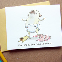 New Baby Girl Card - New Puppy, Puppy Announcement, Puppy Adoption Card, Pug Mom Card, Congratulations, Pug Puppy Art by Inkpug!