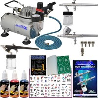 Master Airbrush Tattoo System. 3 Airbrushes, Air Compressor, Deluxe Book of 100 Stencils, 6' Hose, Airbrush Holder, 3 Quick Couplers, Black, Red & Blue Temporary Tattoo Ink in 1-oz Bottles. Now Includes a (FREE) How to Airbrush Training Book to Get You Sta