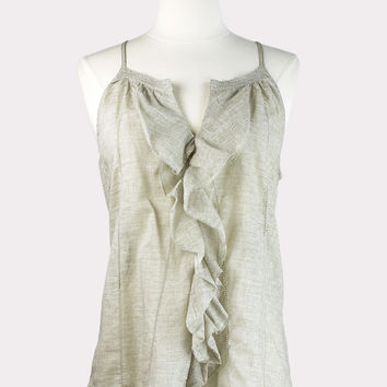Taupe Ruffle Front Tank