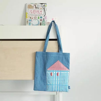 Embroidery Denim Bags Lovely Tote Bag [8069797319]
