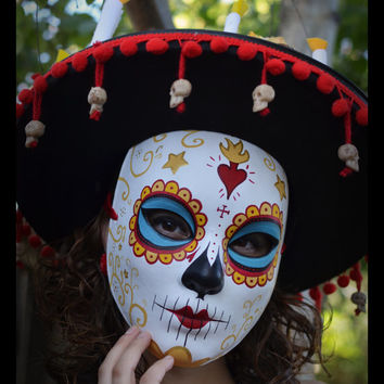 La Muerte - The book of Life Mask & Hat - Ready to Ship Halloween costume Ready to Ship Crown Dia De los Muertos Skull Katrina catrina