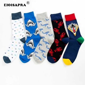 [EIOISAPRA]Harajuku Hip Hop Streets Clouds/Sharks/Whales/Monkeys/Lobsters Happy Socks Men Printing Skarpetki Men Socks Meias