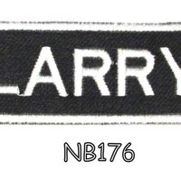Larry White on Black Iron on Name Tag Patch for Biker Vest NB176