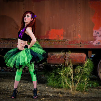 Adult tutu, rave raver tutu, neon green and black, gogo dancer, steampunk clothes, edc tutu