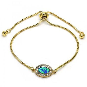 Gold Layered Fancy Bracelet, with Micro Pave and Opal, Golden Tone
