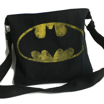 Batman Bag Upcycled Tshirt Bag Batman Crossbody Bag