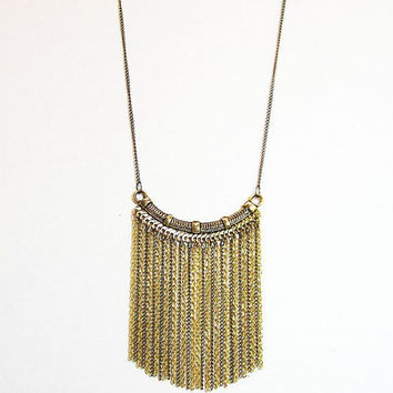 Tassel Necklace Gold Plated Jewelry Long Chain Fringe Jewellery Everyday Minimalist Handcrafted Fashion
