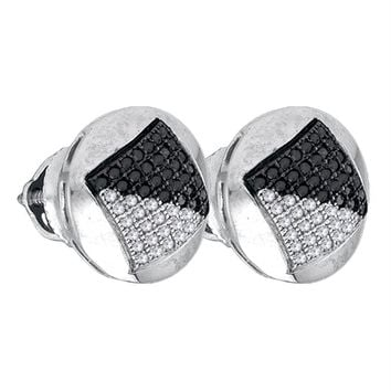 Sterling Silver Men's Round Black Color Enhanced Diamond Circle Cluster Stud Earrings 1-3 Cttw - FREE Shipping (USA/CAN)