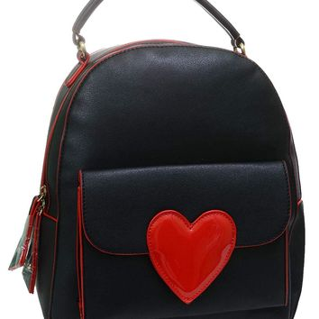 Heart Patch Vegan Leather Backpack Black Daypack