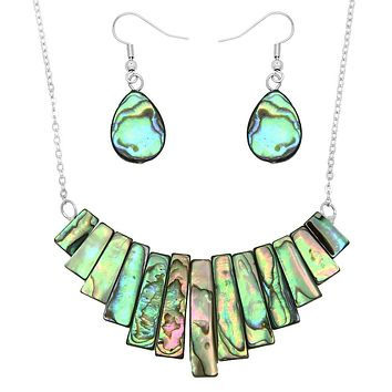 Abalone Shell Petite Bib Necklace Set