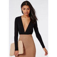 Missguided - Long Sleeve Plunge Gather Front Bodysuit Black
