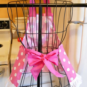 Little Girl's Retro Full Apron in Pink with Polka Dots
