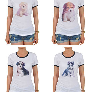 Dog hand painted watercolor Graphic Printed Short Sleeves T-shirt WTS_06